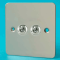 Varilight 2 Gang 10A 1 or 2 Way Dolly Toggle Light Switch Ultra Flat Polished Chrome XFCT2
